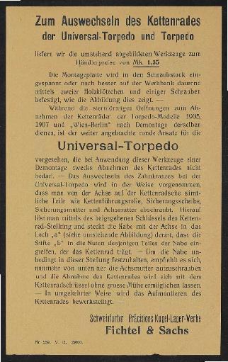 Fichtel u. Sachs Vorrichtung zum Wechsel des Ritzels  mit Anweisung 1912