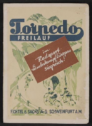 Fichtel u. Sachs Werbepostkarten mit Radrennfahrermotiv 1928