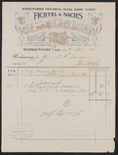 Fichtel u. Sachs, Rechnung 1907
