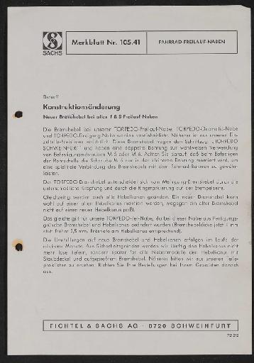 Fichtel und Sachs Fahrrad-Freilauf-Naben Merkblatt 1972