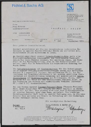 Fichtel und Sachs Händlerschreiben zu Konstruktionsänderung Duomatic-Naben 101 u. 102  1970
