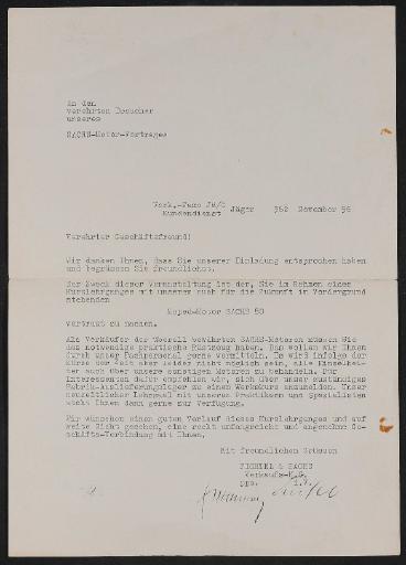 Fichtel und Sachs Händlerschreiben zu Lehrgang Moped Motor Sachs 50 1956