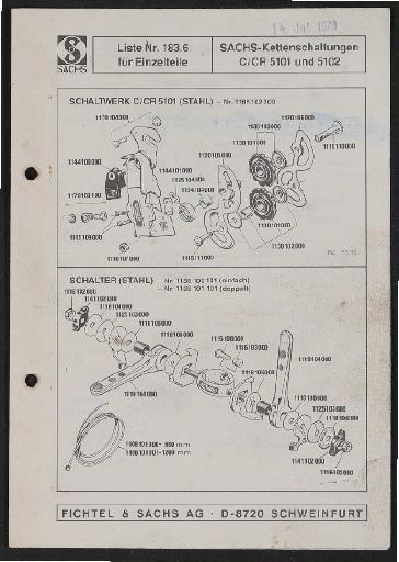 Fichtel und Sachs Kettenschaltungen C u. CR 5101 u. 5102 Ersatzteileliste 1979