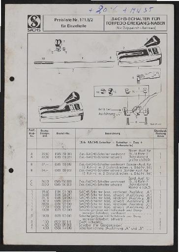Fichtel und Sachs Schalter für Torpedo-Dreigang-Naben Teile- und Preisliste 1972