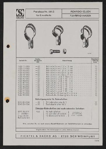 Fichtel und Sachs Schellen f. Bremshebel Ersatzteile- u. Preisliste 1972