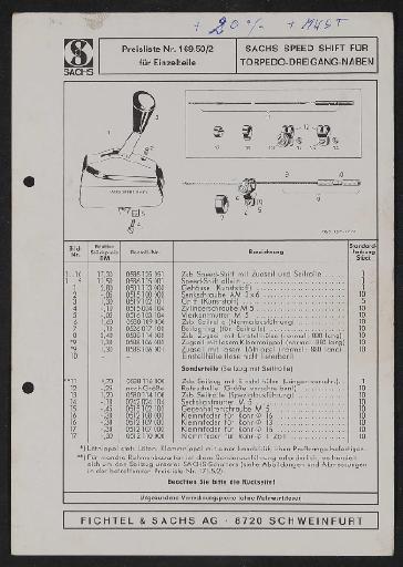 Fichtel und Sachs Speed Shift für Torpedo-Dreigang-Naben Teile- und Preisliste 1972