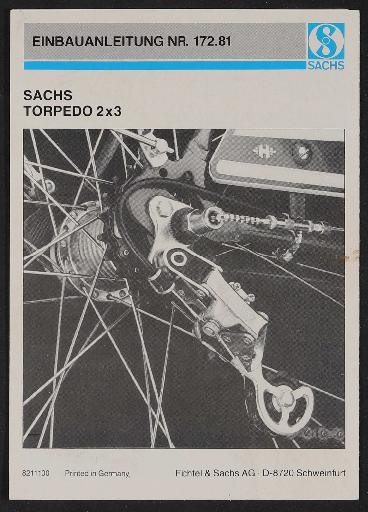 Fichtel und Sachs Torpedo 2 x 3 Einbauanleitung 1982