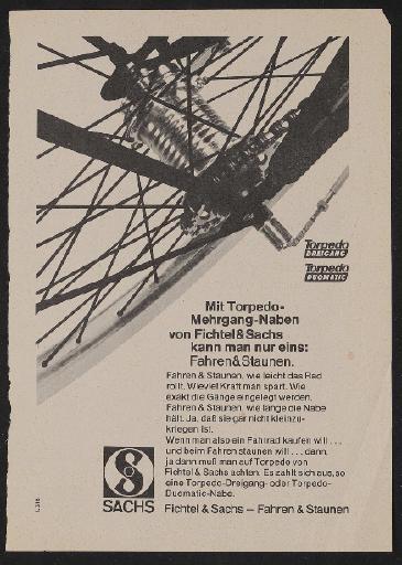 Fichtel und Sachs Torpedo Dreigang Torpedo Duomatic Annonce 1969