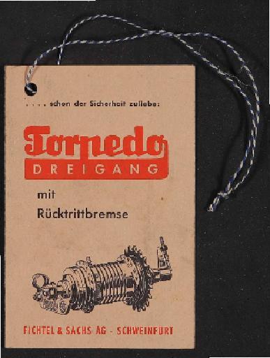 Fichtel und Sachs Torpedo Dreigang mit Rücktrittbremse Werbeanhänger für Händler 1960er Jahre