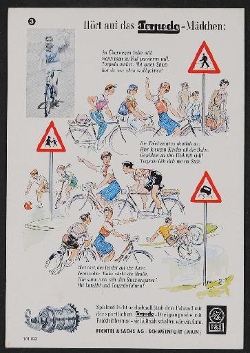 Fichtel und Sachs Torpedo Dreigangnabe Werbeblatt als Löschblatt 1950er Jahre