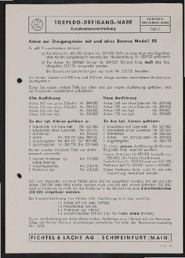 Fichtel und Sachs Torpedo Dreigangnabe ohne Bremse Modell 55 Infoblatt Preis- und Teileliste 1955