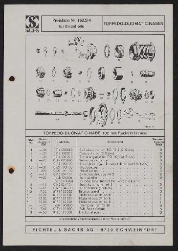 Fichtel und Sachs Torpedo Duomatic Naben Ersatzteile- u. Preisliste 1972