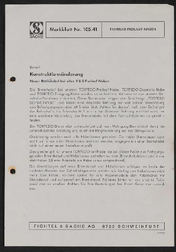 Fichtel und Sachs Torpedo Fahrrad-Freilauf-Naben Merkblatt 19721