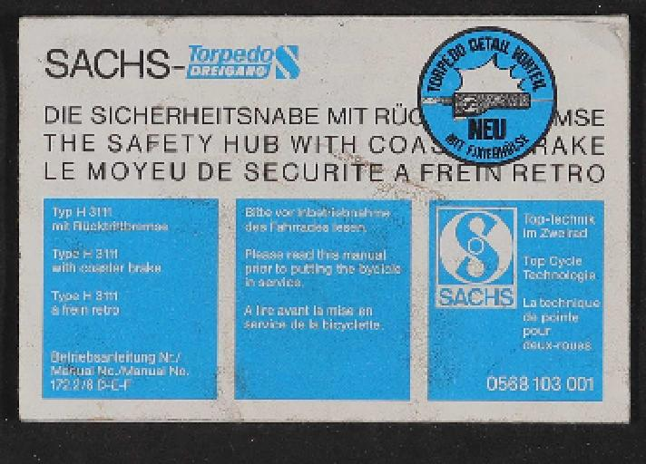 Fichtel und Sachs Torpedo-Dreigang Betriebsanleitung (D, GB, F) 1984