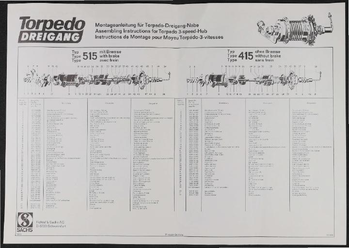 Fichtel und Sachs Torpedo-Dreigang-Nabe Montageanleitung und Teileliste (D,GB, F) 1970er Jahre