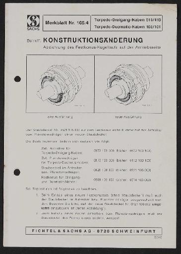 Fichtel und Sachs Torpedo-Dreigang-Naben 515 u. 415 Duomatic-Naben 102 u. 101 Merkblatt 1972