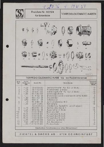 Fichtel und Sachs Torpedo-Duomatic Zweigangnabe 102 mit Rücktrittbremse Teile- und Preisliste 1972