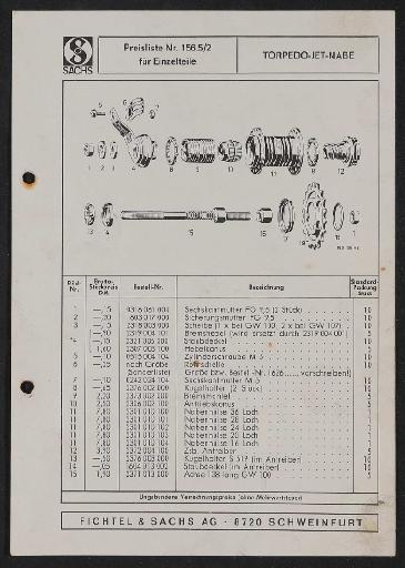 Fichtel und Sachs Torpedo-Jet-Nabe Ersatzteile- u. Preisliste 1972