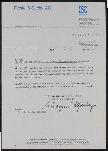 Fichtel und Sachs div. Infoblätter Preis- und Teilelisten 1971