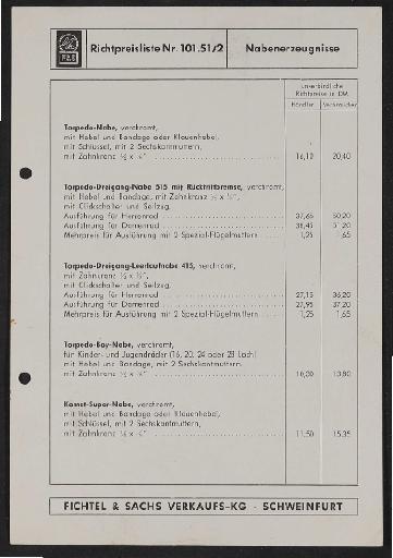 Fichtel und Sachs div. Preis- und Teilelisten 1960er Jahre