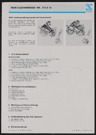 Sachs Aris Kettenschaltungssystem Montagehinweise 1987