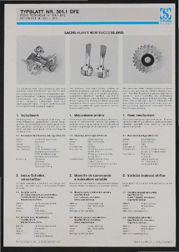 Sachs-Huret Kettenschaltung New Success Aris Infoblatt 1987