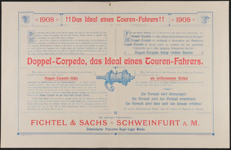 Torpedo Doppel-Torpedo Werbeblatt 1908