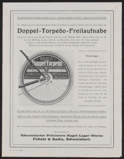 Torpedo Doppel-Torpedo-Freilaufnabe Hinweis für Händler auf Plakat 1913