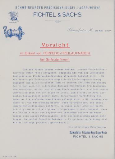 Torpedo Freilaufnabe Information für Händler 1910