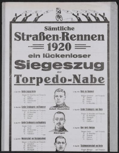 Torpedo Nabe Werbeblatt Straßenrennen  1920
