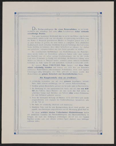 Torpedo Werbeblatt 1905