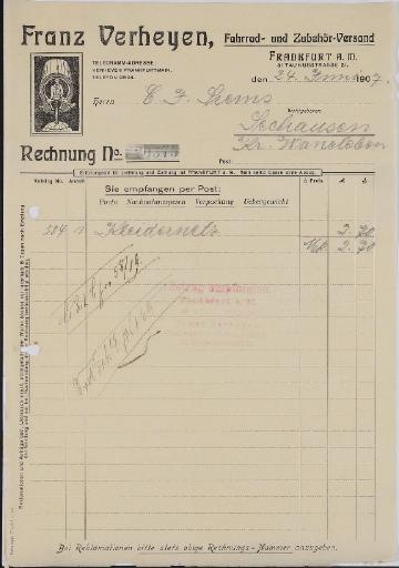 Franz Verheyen, Fahrradzubehör, Rechnung 1907