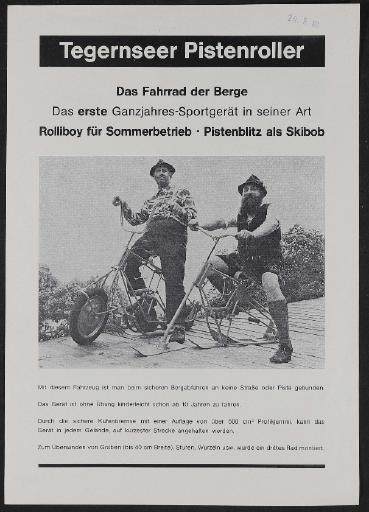 Tegernseer Pistenroller Franz Zehendmaier Werbeblatt 1980