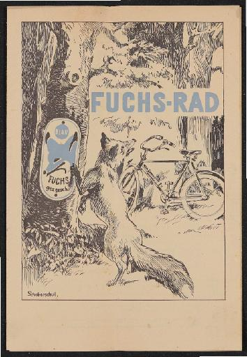 Fuchs-Rad Faltblatt 1930er Jahre