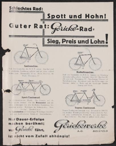 Göricke  Saal- Radballmaschine Sport- u. Tourentandem  Werbeblatt 1920er Jahre