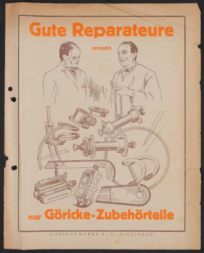 Göricke  Zubehörteile für Reparaturen  Werbeblatt 1920er Jahre