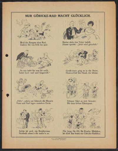 Göricke  für Beruf Erholung und Sport Werbeblatt 1920er Jahre