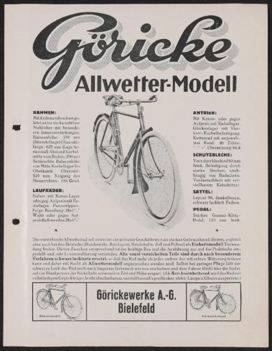 Göricke Allwetter-Modell Werbeblatt 1920er Jahre