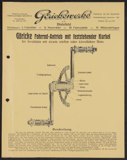 Göricke Antrieb mit feststehender Kurbel Werbeblatt 1910er Jahre