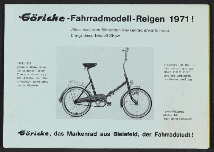 Göricke Fahrradmodelle Faltblatt 1971