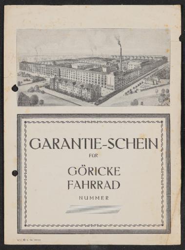 Göricke Garantie-Schein für Göricke Fahrrad blanco 1929