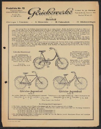 Göricke Kinder- Jugendfahrrad Preisliste 1927
