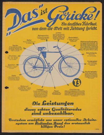 Göricke Leistungen Werbeblatt 1920er Jahre