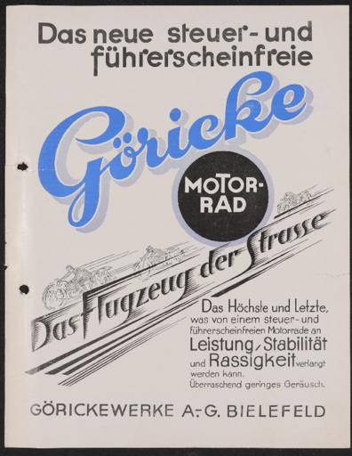 Göricke Motorrad Werbeblatt 1920er Jahre