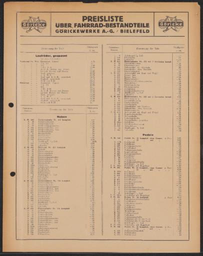 Göricke Preisliste 1920er Jahre