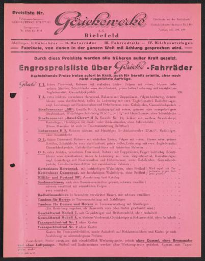 Göricke Preisliste 1928