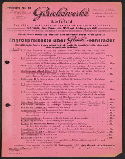 Göricke Preisliste 1929