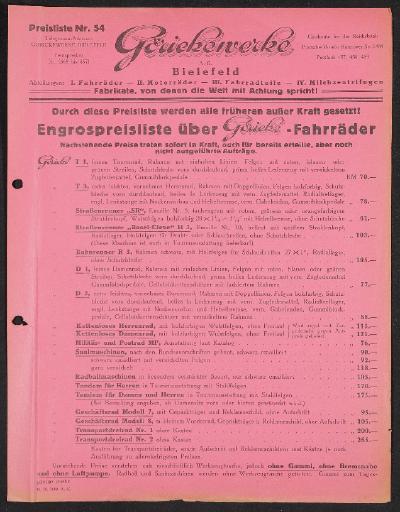 Göricke Preislisten 1928