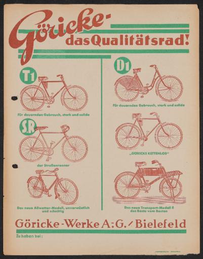 Göricke Qualitätsrad Werbeblatt 1920er Jahre