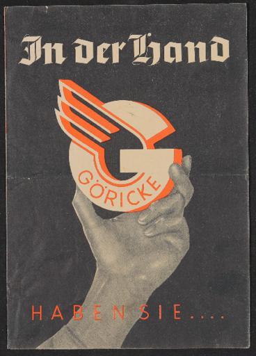 Göricke Räder Faltblatt 1930er Jahre